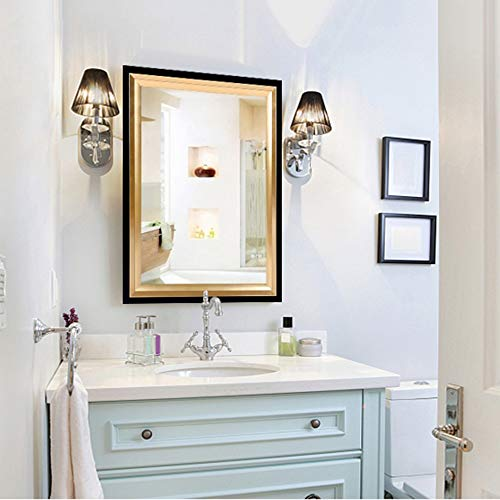 L-KCBTY Badspiegel Mit Schwarzem Goldrahmen, Wandspiegel Für Zu Hause,horizontaler Oder Vertikaler Dekorativer Spiegel, Explosionsgeschützt,mehrere Größen