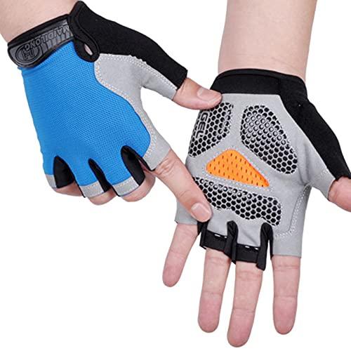 AOOF Guantes deportivos para hombre y mujer, antideslizantes, resistentes al sudor, con medio dedo, absorción de golpes, antideslizantes, transpirables, para moto y bicicleta de montaña, S TypeB-Blue