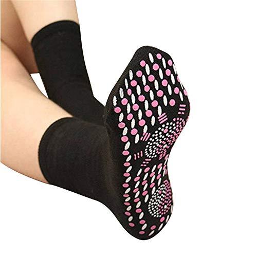 XTBL Beheizte Socken Thermo Socken Fußwärmer Magnetsocken Turmalinsocken Thermosocken Beheizbare Socken für Radfahren/Motorradfahren/Skifahren beheizbare socken waschbar 6 Paar Socken (schwarz)