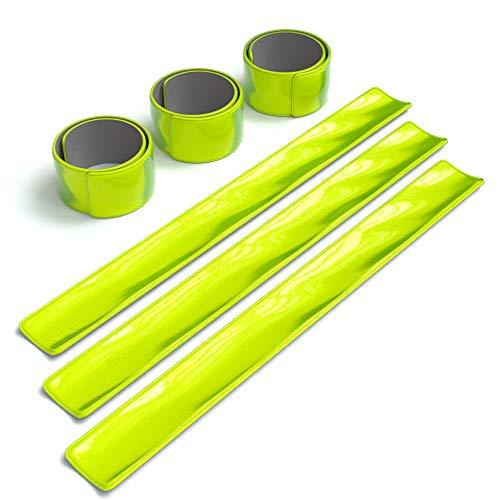 EAZY CASE 6X Reflektorband, Reflektoren Set, reflektierendes Schnapparmband, Sicherheitsarmband, Reflektorenbänder – ideal zur Erhöhung der Sichtbarkeit, nach DIN EN 13356, Neon Gelb