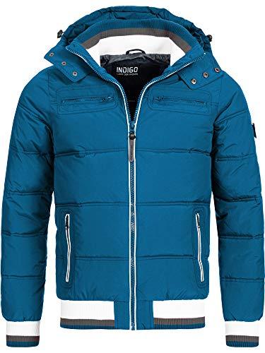 Indicode Herren Marlon Steppjacke in Daunenjacken-Optik mit Abnehmbarer Kapuze | warme Winterjacke gefütterte Übergangsjacke Regenjacke mit 6 Taschen Jacke für Männer Sea Blue M