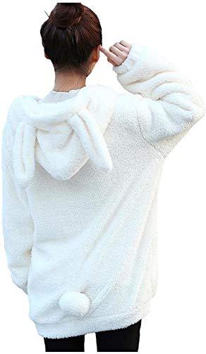 Damen Weich Flauschig Kaninchen Ohren Hoodie mit Schwanz Full Reißverschluss Niedlich Bär Kapuzenpullover Winter Warm Mäntel Jacken Outwear Gr. One size, Weißer Hase