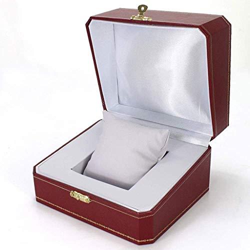 SMEJS Leder-Uhr-Box Schmuck-Vitrine aus Holz Uhr Organizer mit Display
