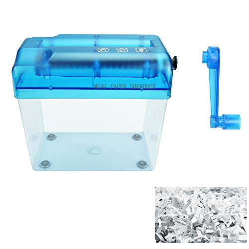 SNAGAROG A6 Manueller Aktenvernichter Mini Tragbarer Aktenvernichter Professioneller Handkurbel Papierschredder für Büro, Schule, Zuhause (Blau)