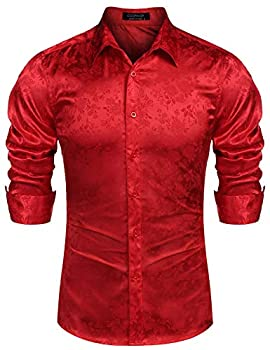 COOFANDY Men s Long Sleeve Satin Luxury Printed Silk Dress Shirt Dance Prom Party Button Down Shirts  Large Red