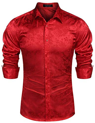COOFANDY Men's Long Sleeve Satin Luxury Printed Silk Dress Shirt Dance Prom Party Button Down Shirts (Medium, Red)