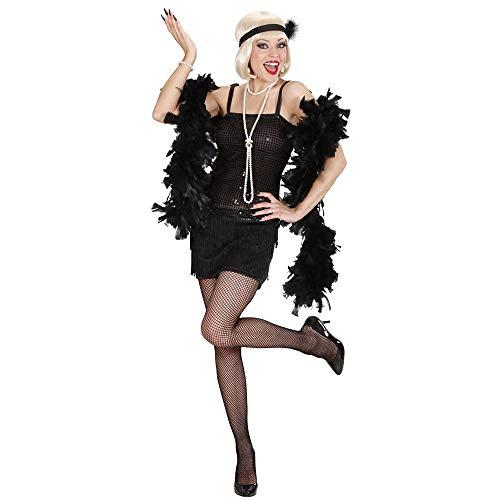 Widmann 70331 - Erwachsenenkostüm Charleston - Kleid und Stirnband mit Federn, Größe S, schwarz