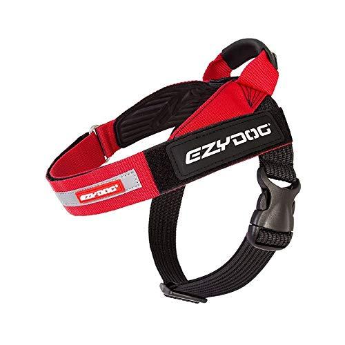 EzyDog Express Hundegeschirr - Norwegergeschirr für Kleine, Mittelgroße und Große Hunde, reflektierendes, Verstellbares, Gepolstertes Hundegeschirr. Perfekt zum Joggen und Radfahren (L, Rot)