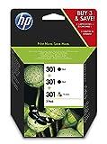 HP 301 E5Y87EE, Pack de 3, Cartuchos de Tinta Originales, 2 Negro + 1 Tricolor, Compatible con impresoras de inyección de tinta DeskJet 1050, 2540,3050;OfficeJet 2620, 4630;ENVY 4500, 5530