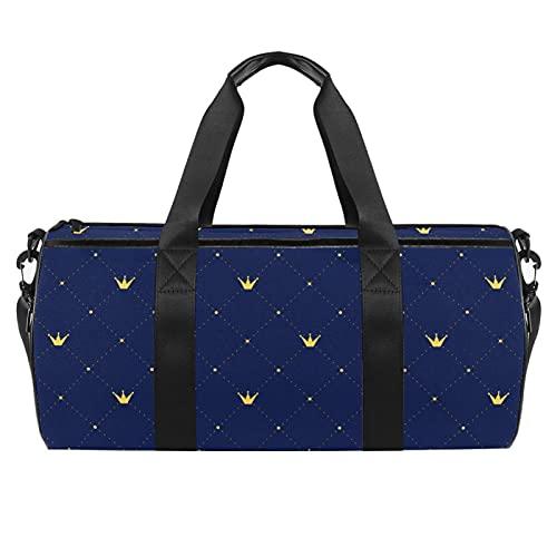 Crown Vintage Plaid Gym Bag para hombres y mujeres bolsas de fin de semana, bolsa de viaje con bolsillo impermeable