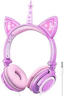LOBKIN - Auriculares plegables para niños, diseño de unicornio con orejas de gato con cable, para niños y niñas, control de volumen ajustable de 85 dB, auriculares para niños para la escuela/tableta (morado y rosa)