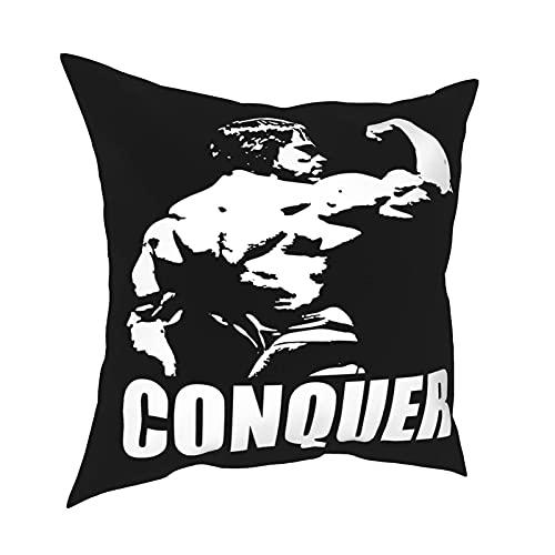 Jupsero Conquer (Arnold Back Bicep Flex) Funda de Almohada sin Mangas Funda de Almohada Cuadrada de Moda Funda de Almohada Decorativa 18 X 18 Pulgadas 45 X 45 cm