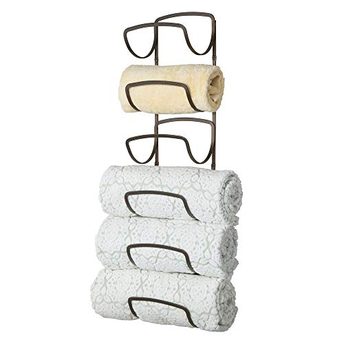 mDesign Modern Decorative Six Level Bathroom Towel Rack Holder & Organizer, Wall...