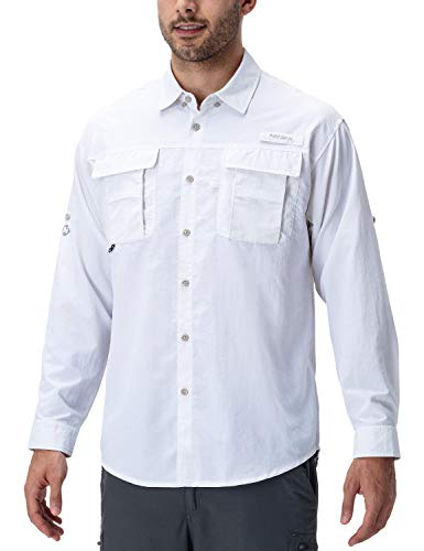 NAVISKIN Camisa Casual UV UPF 50+ de Manga Larga para Hombre Camiseta Deporte Térmica Pesca Acampada Campismo Senderismo Marcha Ligero Secado Rápido, Blanco XXL