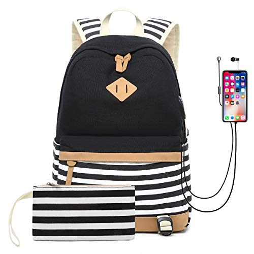 DNFC School Backpack with USB Charging Port Casual Canvas Striped Bag Daypack Large Capacity Rucksack for Teenager Girls Boys College Student (Black)