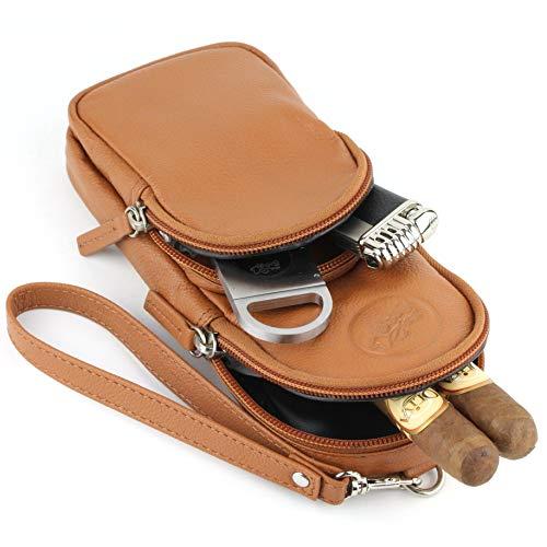 Mrs. Brog Elegant Full Grain Leather Cigar Pouch - Travel Case - Tan