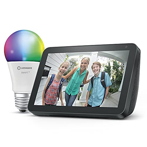 Echo Show 8 (1.ª generación, modelo de 2019), Tela de color antracita + Ledvance Bombilla Inteligente (E27), compatible con Alexa