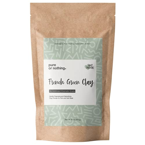 French Green Clay 16 oz | 100% Natural Montmorillonite Green Clay Powder | Product of France | Detoxifies Skin | Ideal for Clay Mask and Soap Making | By Pure or Nothing