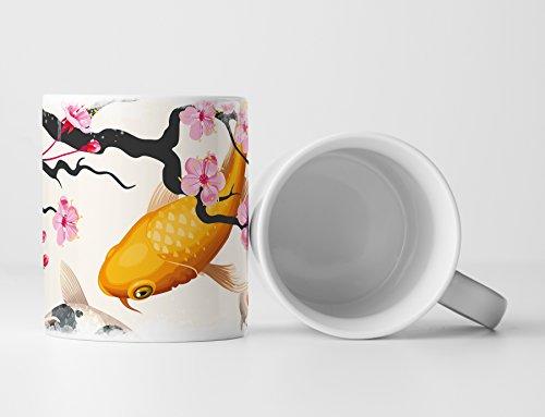 Eau Zone Fotokunst Tasse Geschenk Koi Karpfen Teich mit Kirschblüten