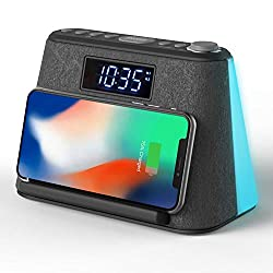 Alarm Clock Bedside Non Ticking LCD Alarm Clock with USB Charger & Wireless QI Charging, Bluetooth Speaker, FM Radio, RGB Mood LED Night Light Lamp, Dimmable Display and White Noise Machine