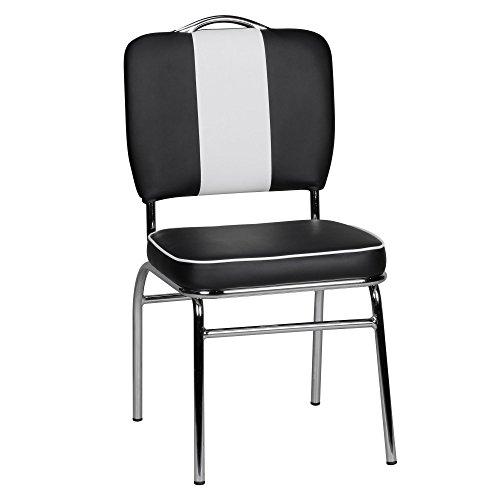 Dastro Design Esszimmerstuhl American Diner 50er Jahre Retro | Sitzfläche gepolstert mit Rücken-Lehne | Essstuhl (Schwarz/Weiß)
