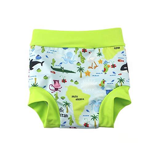 BabyPreg Baby Kind Schwimmen Briefs Abdeckung Windel mit hohen Taille Bauchschutz Badeshorts (Grün, 3-5 Jahre)