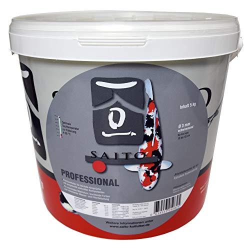 SAITO Professional - Premiumfutter für höchste Ansprüche! Für EIN max. Wachstum und leuchtende Farben - Koifutter Fischfutter schwimmend Ø5 mm - 5 kg Eimer