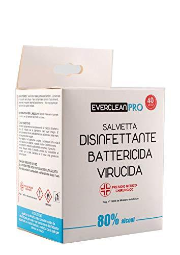 Salviette disinfettanti Everclean Pro 80% di Alcool - 40 pack Battericida Virucida Presidio Medico Chirurgico - Mani, cute integra ed oggetti non porosi