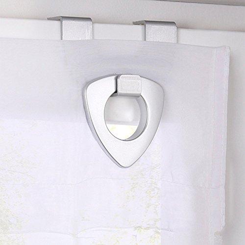 SIMPVALE 1 Stück Raffrollo für Küche und Balkon – Gardinen – Einfaches Aufhängen, Polyester, weiß, Breite 80cm/Höhe 130cm - 2