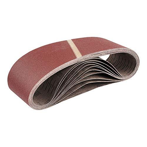 Lot de 10 bandes abrasives en tissu - 75 x 533 mm - Grain 60 - Pour ponceuse à bande - Papier abrasif