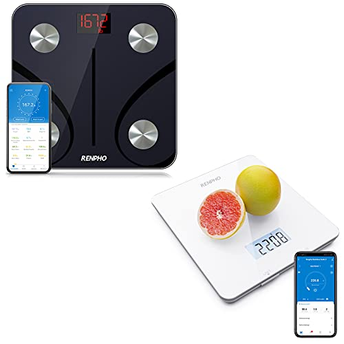 Renpho Bluetooth Bathroom Scale, RENPHO Digital Food Scale, Kitchen Scale for Baking, Cooking and Coffee Scale with Nutritional Calculator