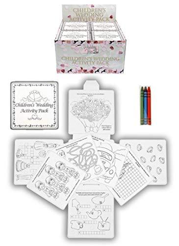 Kressies Wedding Accessories Kit d'activités mariage 4 pièces pour les enfants comprenant des craies des livres de coloriage et des jeux de voyages