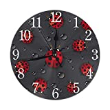 KiuLoam Cute Ladybug with Raindrop Round Wall Clock Silent Non Ticking Battery Operated Easy to Read for Student Office School Home Decorative Clock Art