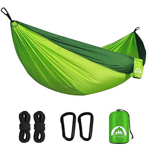 Double Camping Hammock Lightweight Parachute Nylon | Portable Hammocks with Tree Straps | Hammock 2 Person Heavy Duty | Hammock Backpacking for Camping, Backyard, Hiking, Beach (Fruit Green & Green)