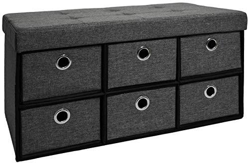 DuneDesign Faltbare Sitzbank 76x38x38cm inkl. 6 Schubladen Sitztruhe 80L Polsterbank Ottomane Leinen Dunkelgrau