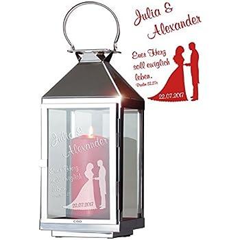 - gravierte Edelstahllaterne H/öhe 36 cm romantische Hochzeitslaterne Geschenke 24: Laterne mit Schw/änen und Gravur Cilio Laterne personalisiert