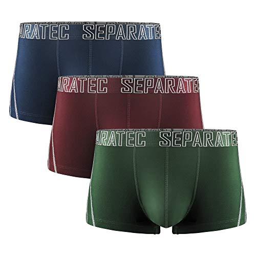 Separatec Calzoncillos bóxer para Hombre Rayón de bambú Liso con Bolsas separadas Ropa Interior Pack de 3 Calzoncillos bóxer Elegante bañador Multicolor (XL, Negro+Rojo+Verde)