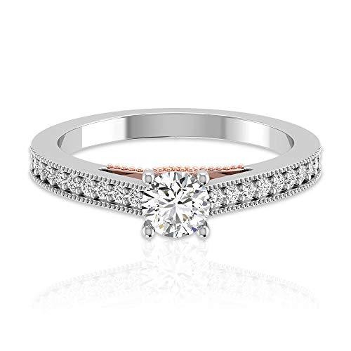Anillo de compromiso con diamante certificado IGI de 0,47 ct, piedra lateral, anillo de boda, aniversario de boda, promesa corazón con cuentas a juego, regalo, 14K Oro amarillo, Size:EU 55