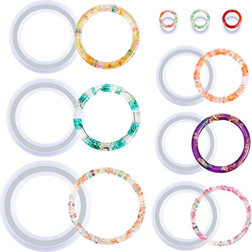 9 Stücke Silikon Armband Form und Ring Harz Gussform Satz Runde Epoxid Schmuck Form Silikon Armreif Ring Form für Schmuck DIY Basteln Zubehör