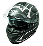 NOS Helmets NS07F0MEDW Casco da moto integrale in fibra MFC. Omologato ECE22-05, Douglas White, ME