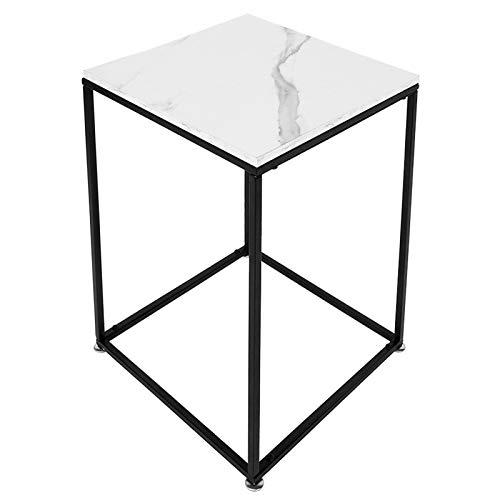 AYNEFY Mesa auxiliar de sofá blanca, moderna textura de mármol, mesa de café, mesita de noche, dormitorio, sala de estar, mesa auxiliar para espacio pequeño, 40 x 40 x 61 cm