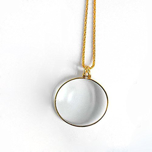 Handlupe Klassische Lupe Glas Konvexlinse Alter Mann Lesebrille 6X Dame Halskette Lupe Goldfarbe Anhänger Breite 42Mm Halskette 900Mm