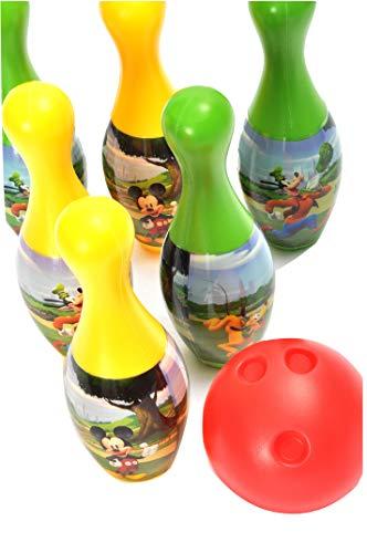 Set gioco 6 birilli Disney Mickey Mouse (h 21cm) in plastica con 2 palline