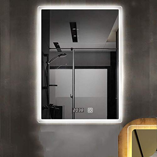 Espejo de baño Rectangular con luz LED Ajustable y Sensor táctil/función de Reloj Espejo de Afeitar de Maquillaje montado en la Pared, luz Blanca/luz cálida