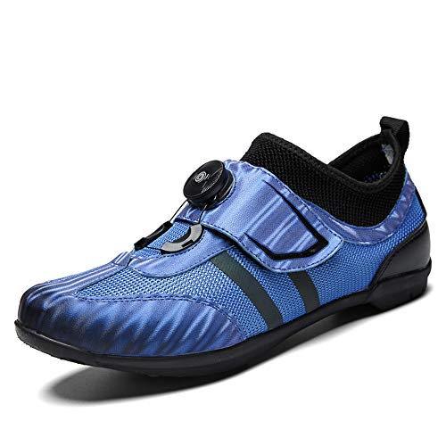 DWZRG Road Cycling Shoes Mens Womens Lock-Free Spin Bicycle Shoes MTB Cycling Shoes with Quick lace (Blue, 10 M US Women/8.5 M US Men)