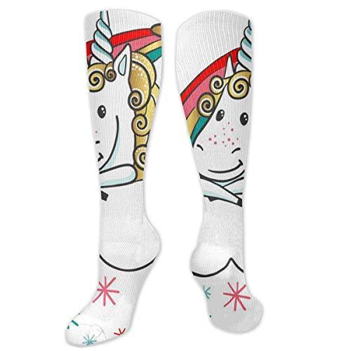 Jessicaie Shop Stof Cartoon Unicorn regenboog voor zowel mannen als vrouwen compressiekousen Athletic Running Nurse kousen