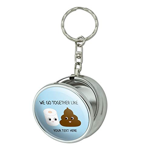 GRAPHICS & MORE Personalized Custom 1 Line Toilet Paper and Poop Best Friends Portable Travel Size Pocket Purse Ashtray Keychain with Cigarette Holder