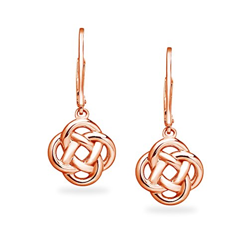 Rose Gold Flashed Sterling Silver Love Knot Dangle Leverback Earrings   Available in Silver, Rose and Yellow Gold