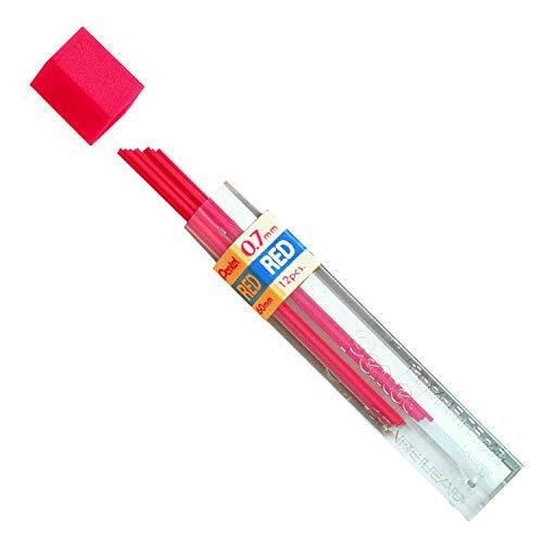 Pentel Refill 12 Pack, 0.7mm, Medium, Lead Red (PPR-7)