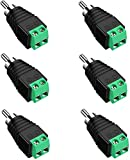 RCA Cable Audio Adapter, (6-Pack) RCA to AV Screw Terminal Adapter, Solderless Converter Audio/Video Speaker Wire Connectors, CCTV Applications RCA Male Cable - Screwdriver Included